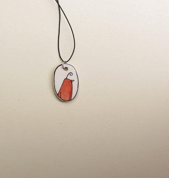 Ceramic hand drawn orange bird necklace pendant by catherinereece