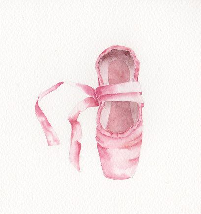 Watercolor Painting, Original, 6x6 - BALLET SHOE