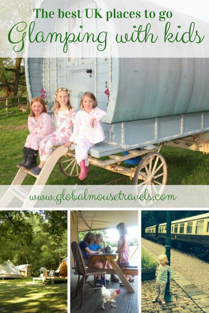 The absolute best places to go glamping in the UK with kids including yurts, gypsy caravans, converted railway carriages and tipis. We've rounded up places in England, Scotland, Wales and Northern Ireland that all the family will love - camping taken to a