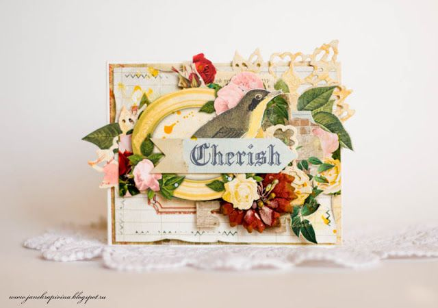 """Cherish"" Card by Guest Designer Evgenia Krapivina - C'est Magnifique November 2015 Kit"
