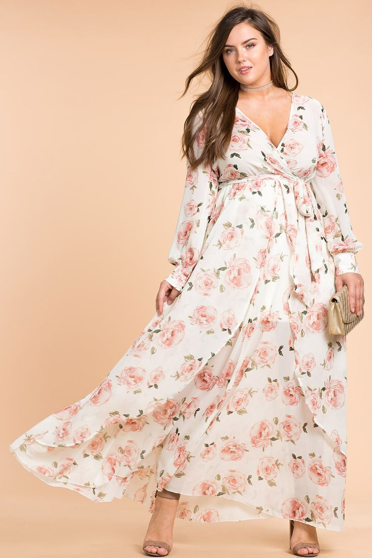 Women's Plus Size Maxi Dresses   Floral Shine Maxi Dress   A'GACI