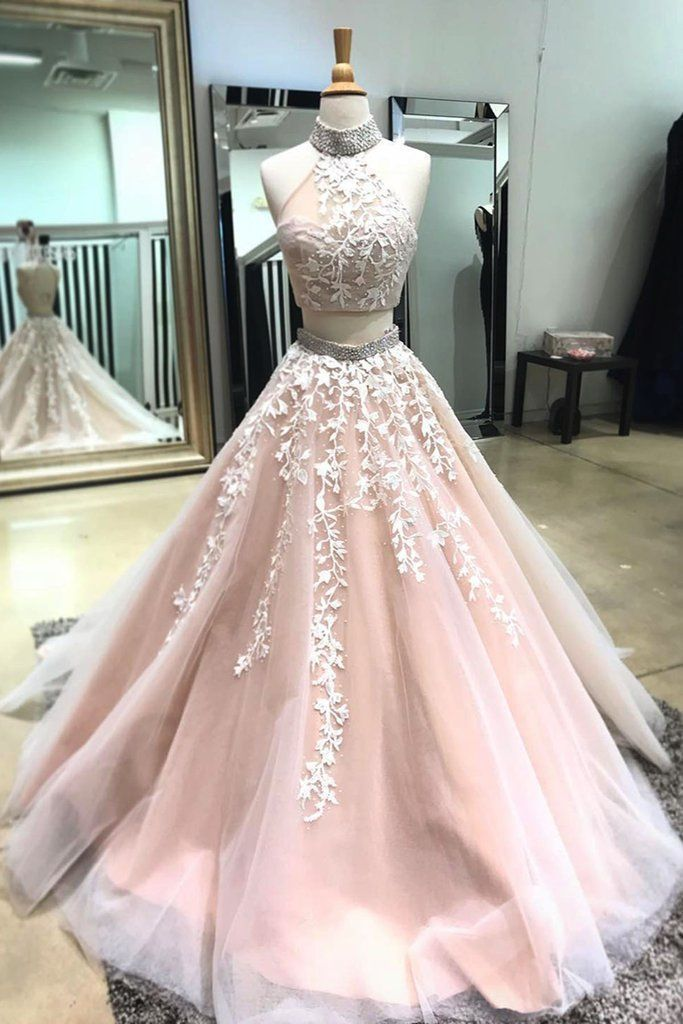 Blush pink tulle two pieces long open back silver beaded sweet 16 prom dresses #longpromdresses #dressesprom
