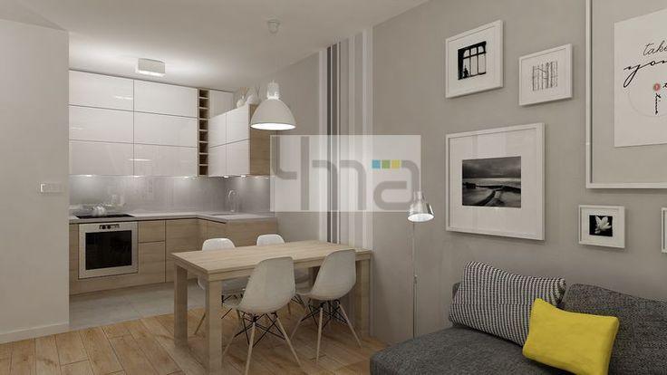 Dwupokojowe mieszkanie 48 m2 zaprojektowane dla młodej pary - http://4ma-projekt.pl Jadalnia, salon, kuchnia