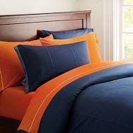 blue & orange bedding quilt