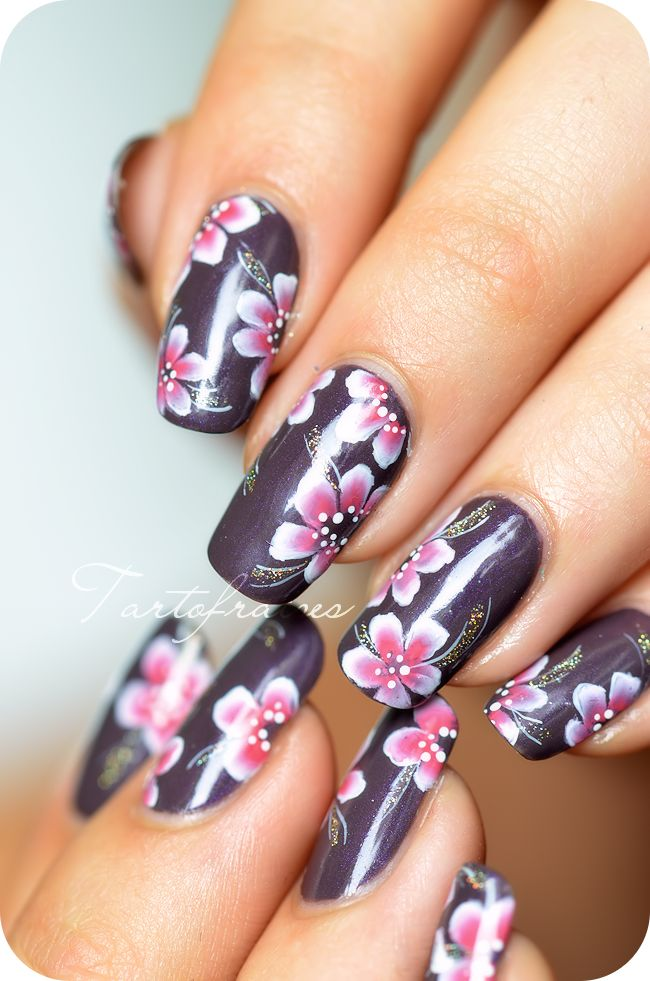 nail art one stroke fleur yukata