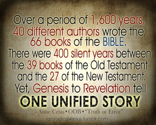 Over a period of 1,600 years, 40 different authors wrote the 66 books of the bible. The Bible,atheist