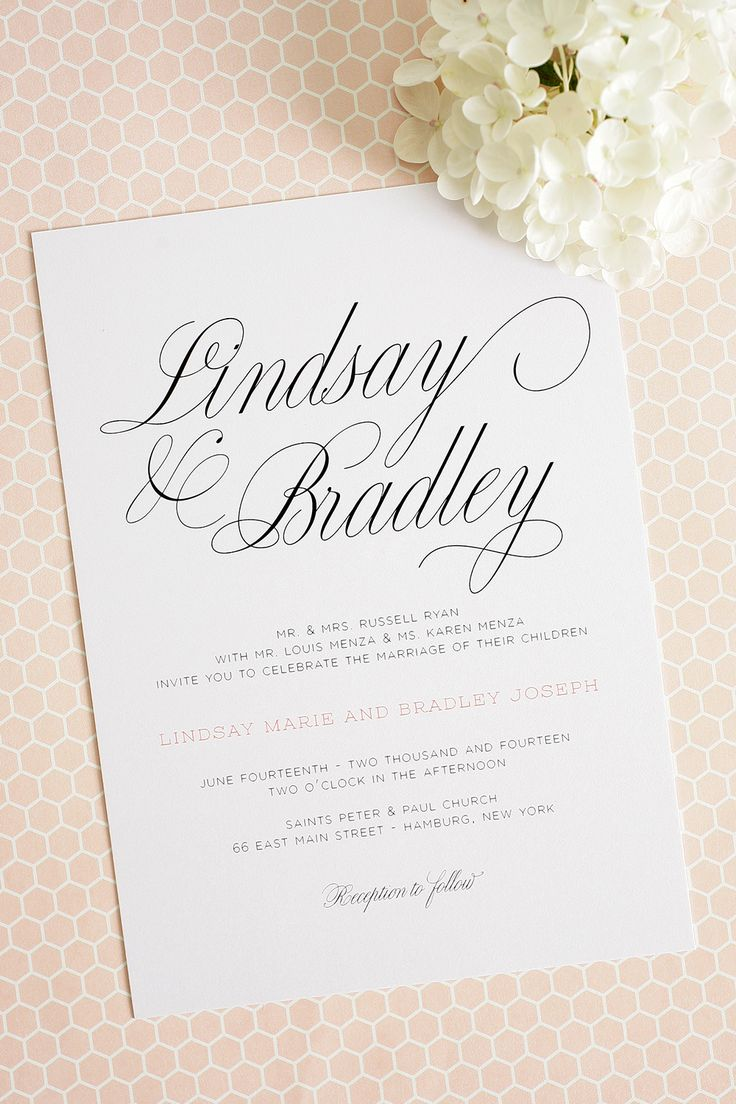 Large Script Wedding Invitations with Peach Accents.  Perfect for a garden wedding!