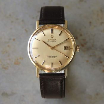 A delightful example of an 18-carat solid gold Omega Seamaster De Ville dress watch dating from circa 1966. The piece is in excellent condition both inside and out, from the 18-carat gold case – embossed with the famous sea monster logo – to the original stamped dial, and the automatic-wind movement – which has been fully serviced and regulated. The strap has been replaced with a new band. The watch … Read More →