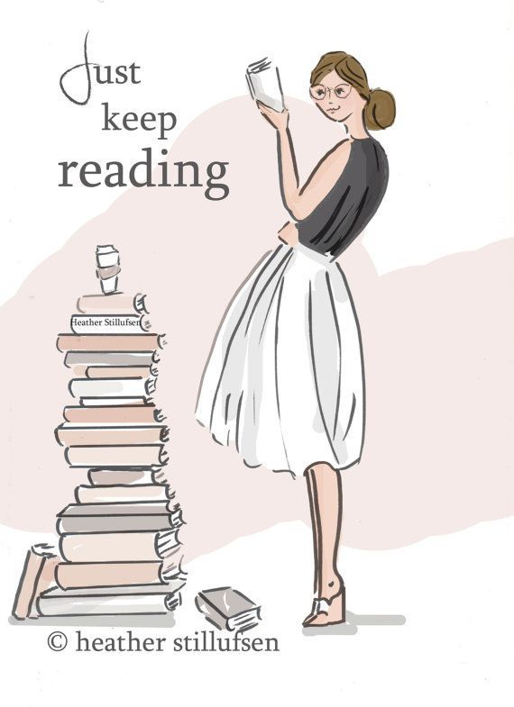 Book Art   Just Keep Reading  Quotes  Art by RoseHillDesignStudio