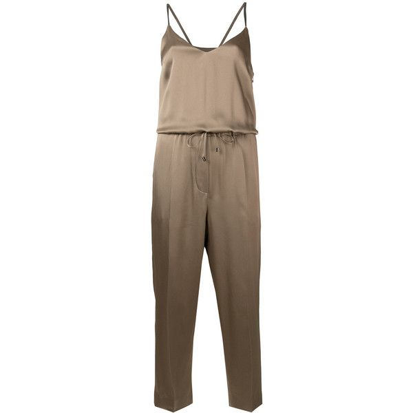 Brunello Cucinelli drawstring cropped playsuit ($1,845) ❤ liked on Polyvore featuring jumpsuits and rompers