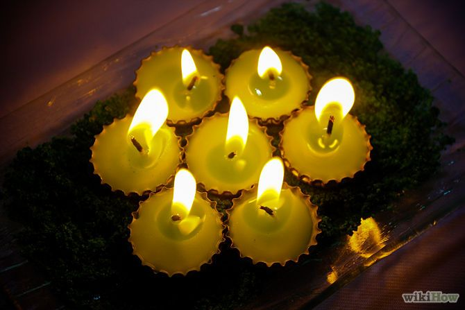 How to Make Bottle Cap Candles: 9 Steps - wikiHow  Bottle cap candles - burn 1 to 1.5 hours, great for travel or to use when you're entertaining on the deck at night--use up old crayons or candle wax! I really want to try this.