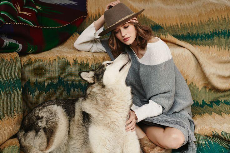 Creamy top EL GAUCHO, poncho LA PAMPA ARGENTINA, long skirt LA AMERICANA from B SIDES LA AMERICANA collection (100% fine merino wool) #bsideshandmade #basiachrabolowska #sustainableknitwear