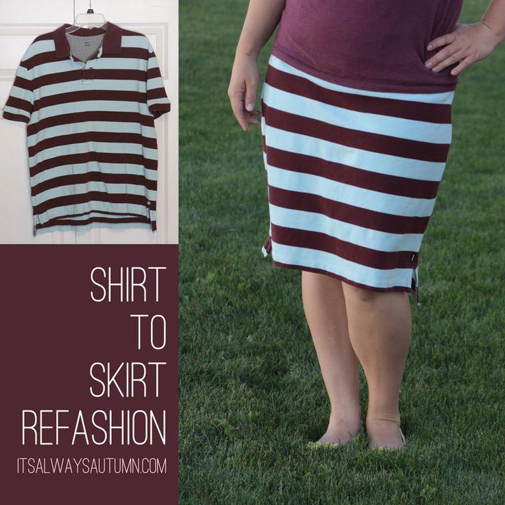 Shirt to Skirt Refashion