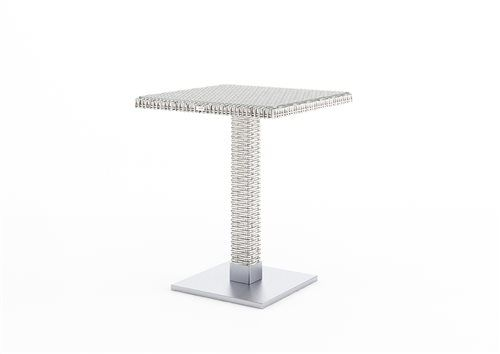quadro stol 60x60x72 cm z umeleho ratanu biely
