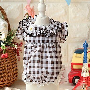 Dog+Dress+Dog+Clothes+Cute+Plaid/Check+Blue+Blushing+Pink+Black/White+–+USD+$+7.99