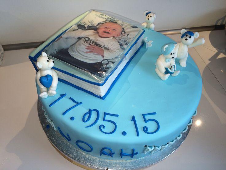 Blå dreng boy dåbs fondant cake kage