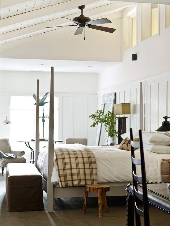 A winter white bedroom that is light and bright and cozy.