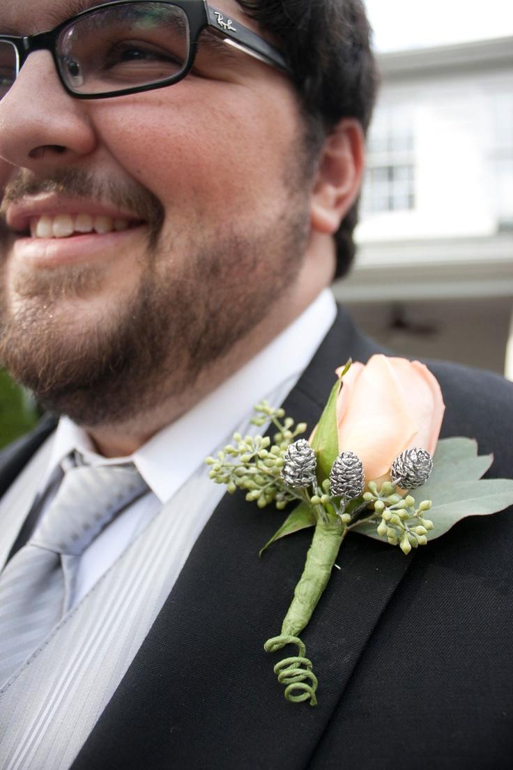 #boutonniere #peach #silver #pinecones #wedding #groom