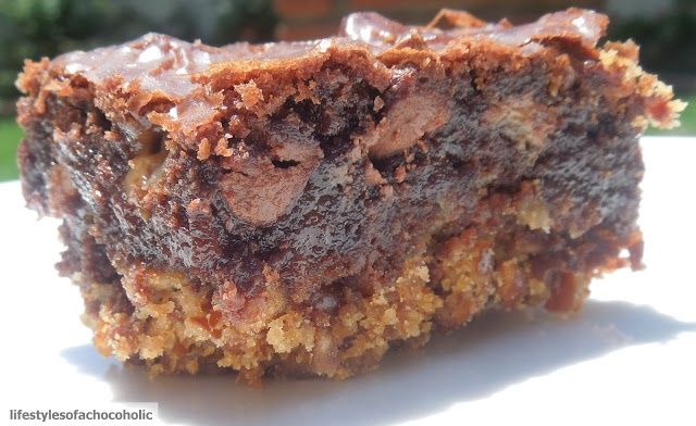 Pretzel Crusted Brownies ~ Salty and sweet in one chocolate bite, what could be better. Since you use a box mix, this is so simple. I like to use a dark chocolate brownie mix or one with big chocolate chips.