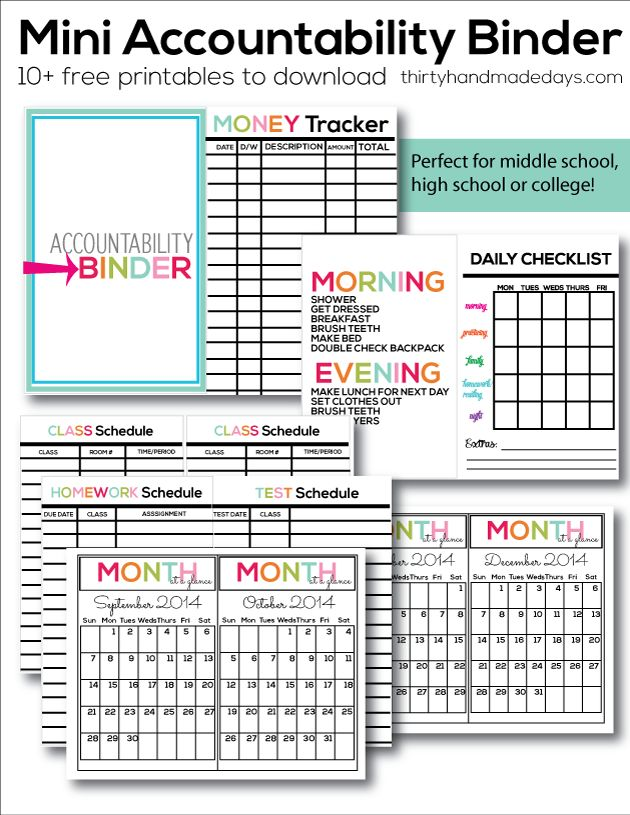 Printable Mini Accountability Binder - perfect for junior high, high school and college students!  |  Thirty Handmade Days