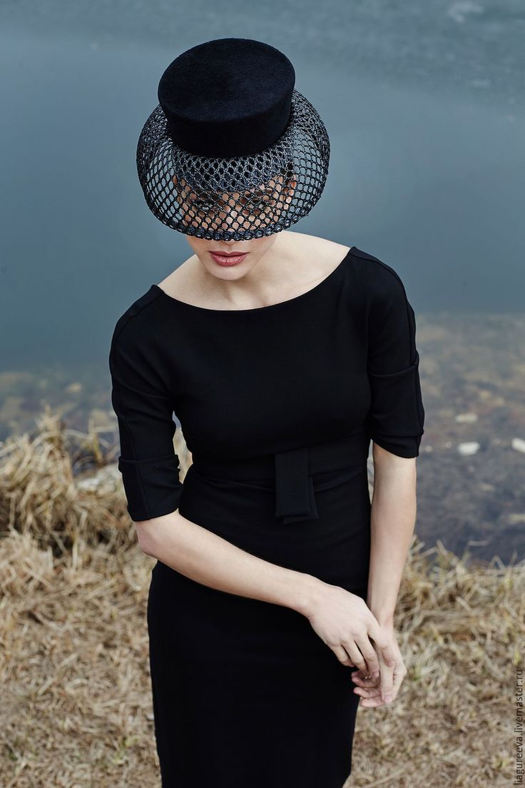 Купить Шляпка - черный, сеточка, велюровая шляпка, черная шляпа, вуаль, коктейльная шляпка