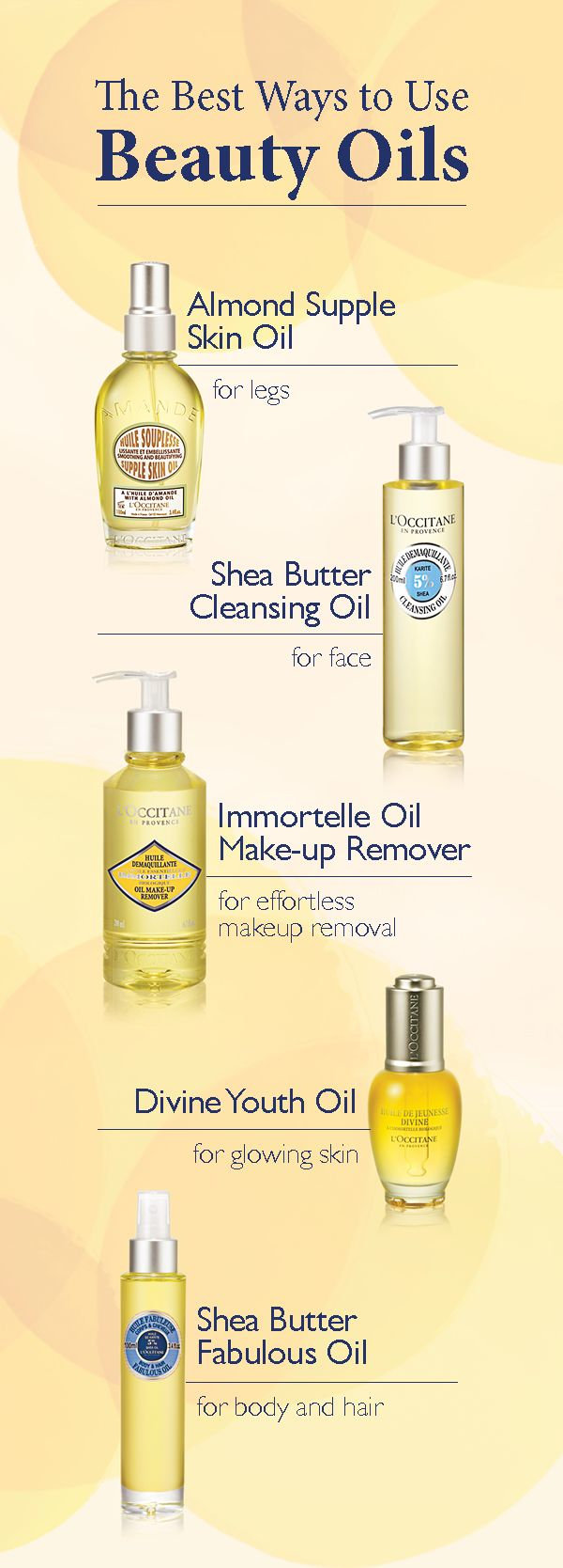 Do you know how to best use beauty oils? Follow L'OCCITANE's tips on how to integrate oils into your beauty routine. Use Almond Supple Skin Oil, rich in omega-3, to nourish skin. Use Shea Butter Cleansing Oil to cleanse and hydrate the face. Use Immortelle Oil Make-up Remover to remove makeup, leaving skin soft. Use Divine Youth Oil, formulated with organic, anti-aging Immortelle essential oil, for a youthful glow. Use Shea Butter Fabulous Oil on body and hair for lasting moisture and shine.