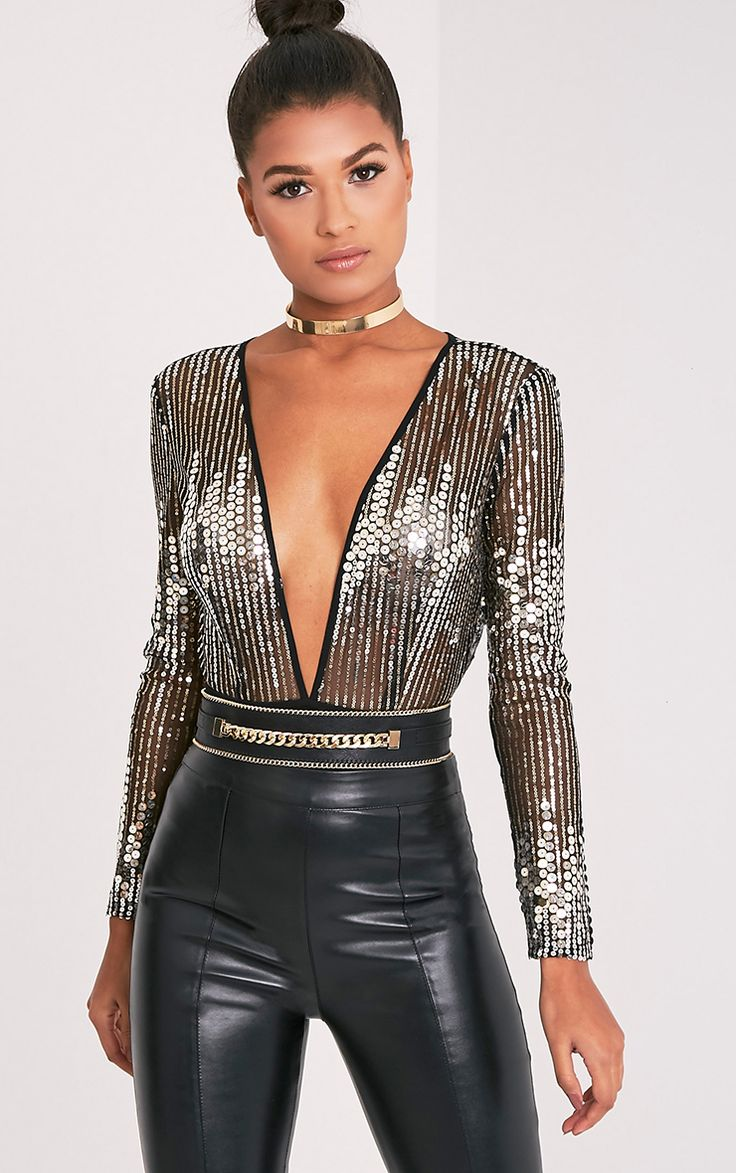 Jennilyn Gold Sequin Plunge Long Sleeve Thong Bodysuit