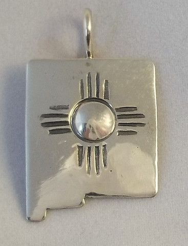 Sterling Silver New Mexico State Shaped Pendant with Zia