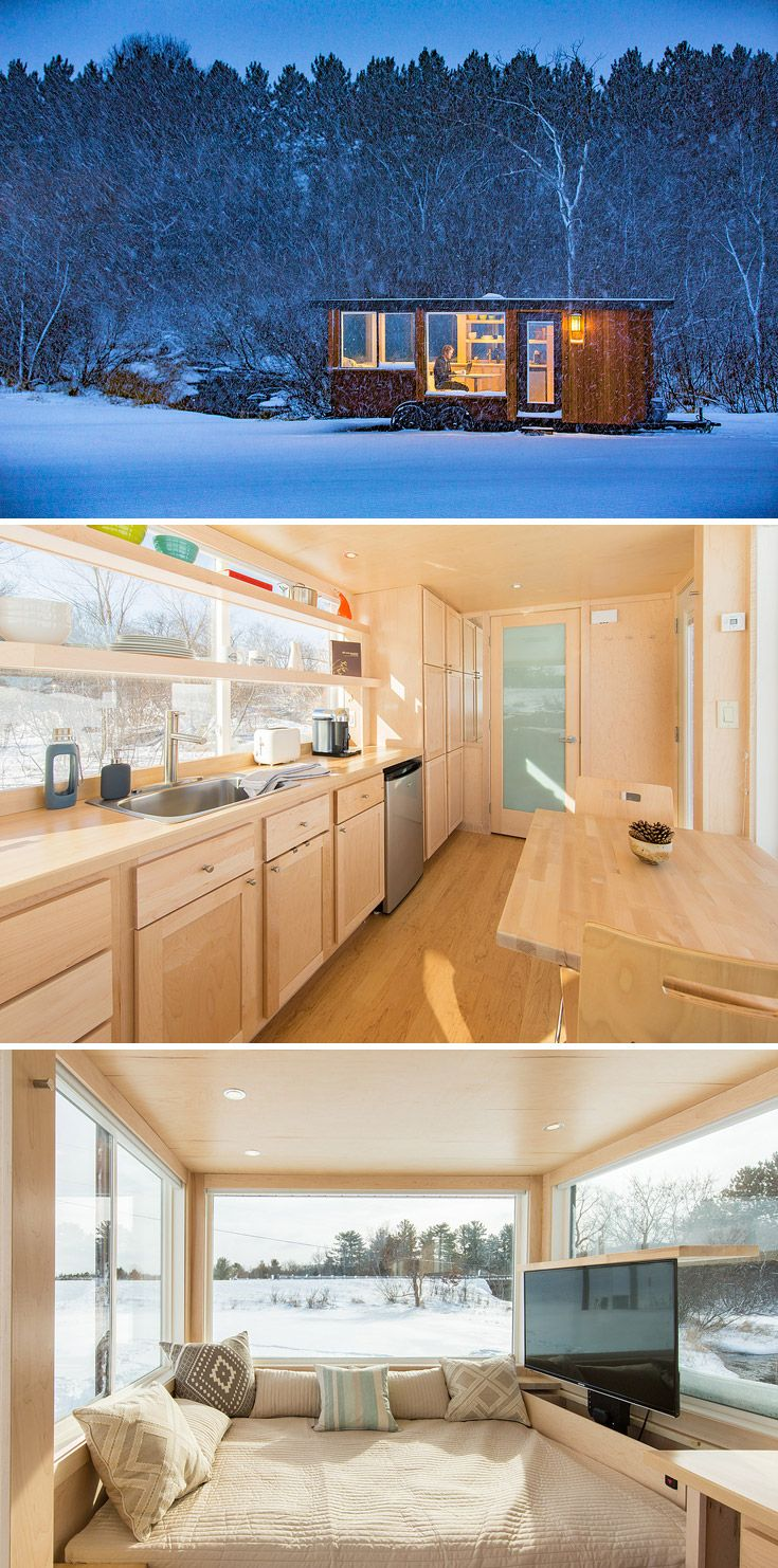 2358 best compact living images on pinterest compact living this beautifully designed tiny house by escape traveler features four large windows allowing for panoramic views
