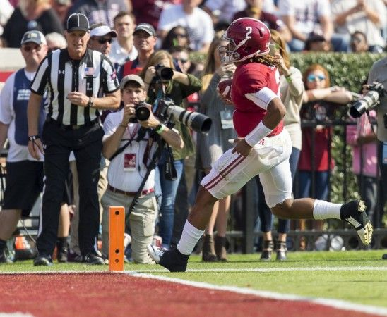 Alabama quarterback Jalen Hurts (2) takes off running for a touchdown during the first half of Alabama's SEC football game with Mississippi State, Saturday, Nov. 12, 2016, at Bryant-Denny Stadium in Tuscaloosa, Ala.  Vasha Hunt/vhunt@al.com