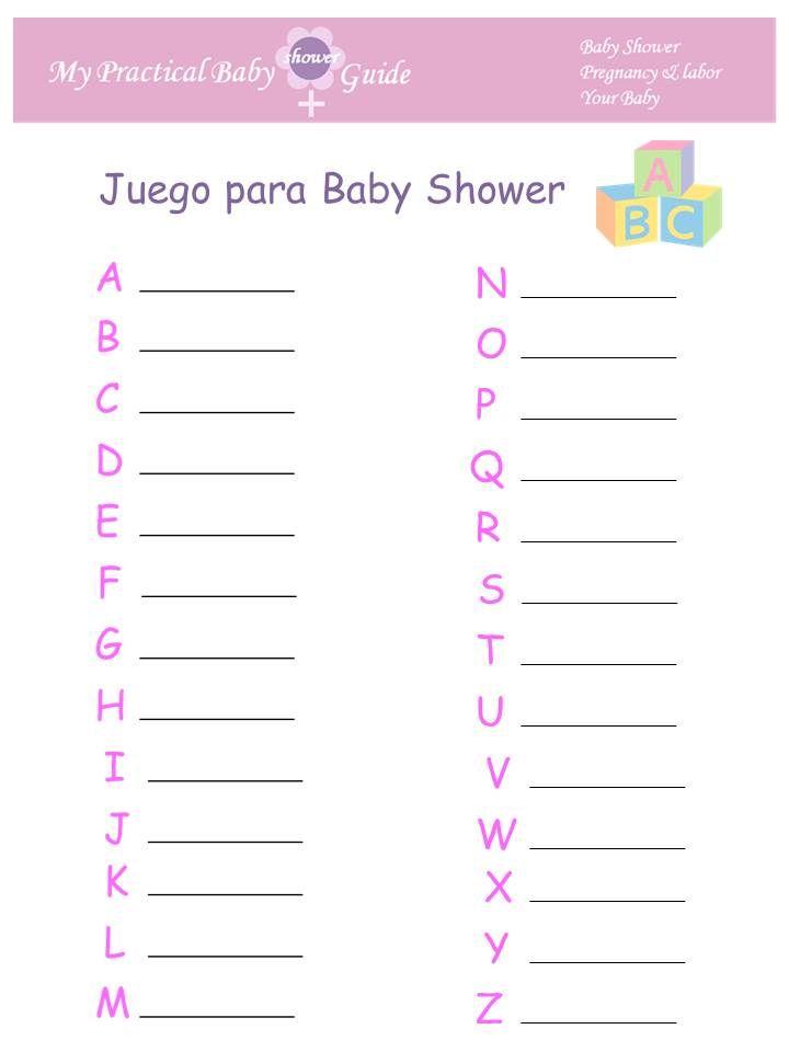 Juego para Baby Shower ABC