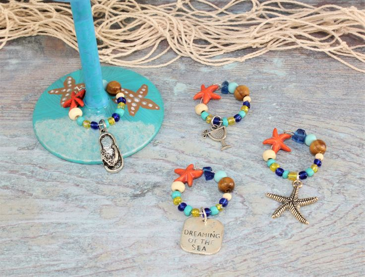 Orange Starfish Wine Charms, Beach Wine Charms, Coastal Wine Charms, Tropical Wine Charms, set of 4. by TropicalTLC on Etsy