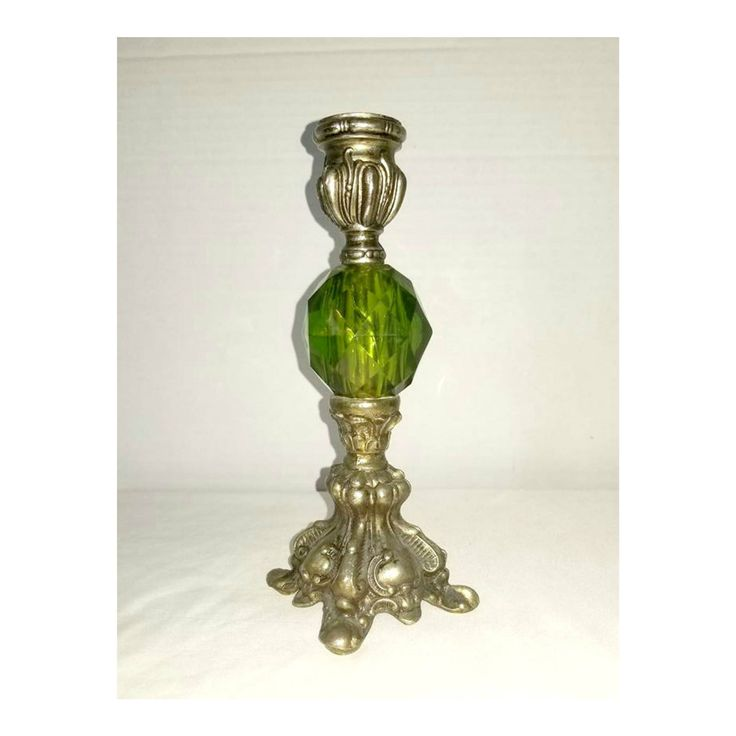 Vintage Green Glass and Silver Candle Holder,Green Candle Holder,Victorian Candle Holders,Taper Holders,Faceted Glass Candle Holder,1960s http://etsy.me/2iENglU #candles #holder #green #silver #candleholder #junkyardblonde #greencandleholder #taperholders #1960s