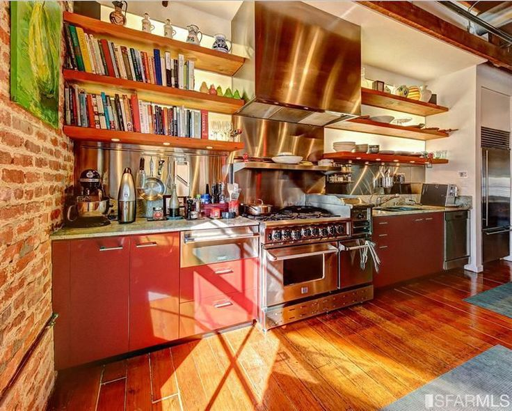 """Contemporary Kitchen with European Cabinets, 36"""" Built-In Over-and-Under Refrigerator/Freezer, Exposed beam, Stainless Steel"""