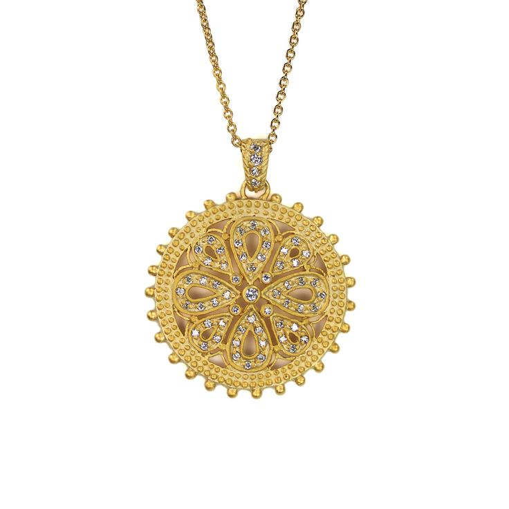 116 best gold pendants images on pinterest gold pendants coins pendant large round gold cz flower design dotted mozeypictures Gallery