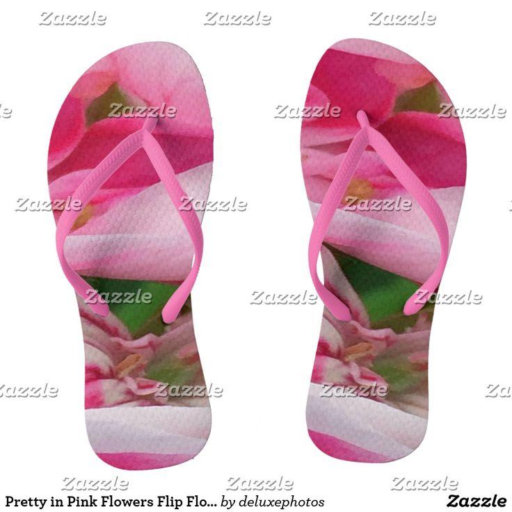 Pretty in Pink Flowers Flip Flops