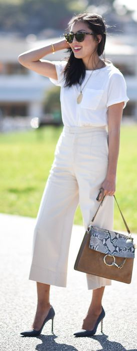 Eggshell Culottes by 9to5 Chic