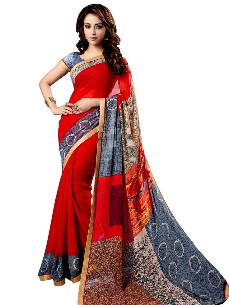 Glamorous grey and red color abstract print #Georgette #Saree with golden lace border. Item Code: SUL14052 http://www.bharatplaza.com/new-arrivals/sarees.html
