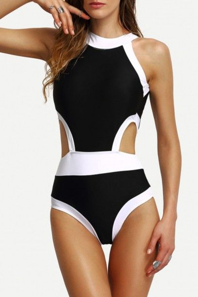 swimwear beautiful halo black and white sexy hipster style fashion trendy summer girly one piece swimsuit