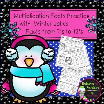 Multiplication Fact Practice (7's to 12's) with Winter Jokes! Your students will LOVE working on their multiplication facts and finding the answers to the winter jokes! This set contains 6 pages total ( 1 page per fact)  and the answer keys!*********************************************************************These activities would work for third graders, high achieving second graders or fourth graders who could use some review!Here are some possible uses for these in your classroom:*early…