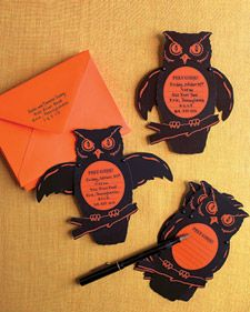 Scare Mail  Frightening fetes call for equally spirited invitations. This Halloween, tempt nocturnal visitors with a menacing wide-eyed owl.    The creatures have movable body parts, attached with miniature brads, which make them compact to send and spook-tacular to receive.