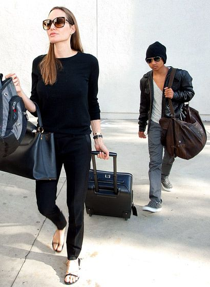 Angelina Jolie and her chic son, Maddox!
