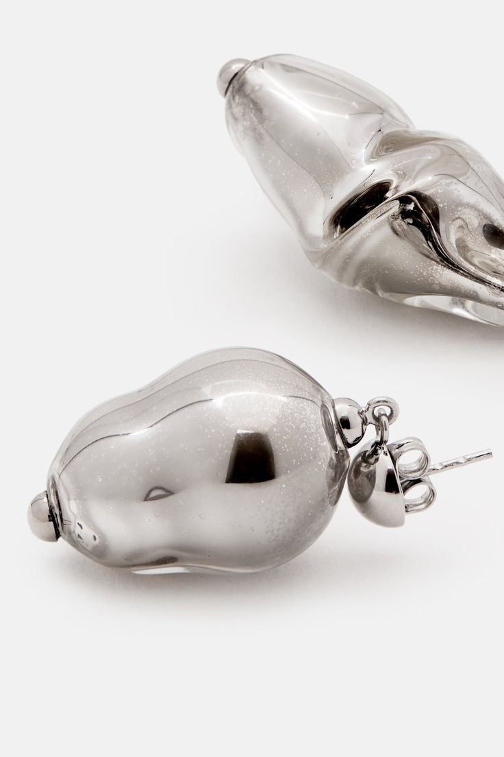 Cocoon/Twisted Glass Pearl Earrings - Silver
