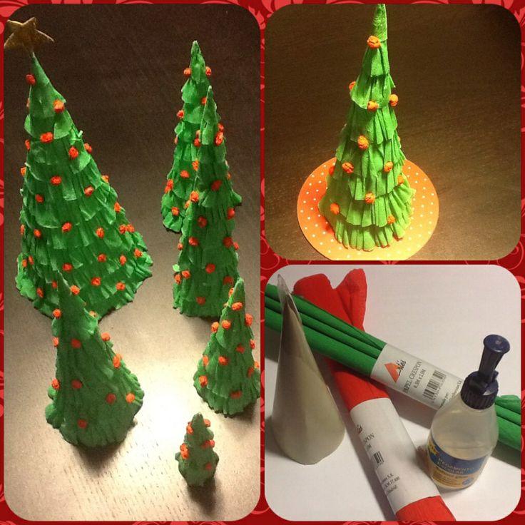 Rboles de navidad de papel hecho con papel crep o - Arbol de navidad con papel ...