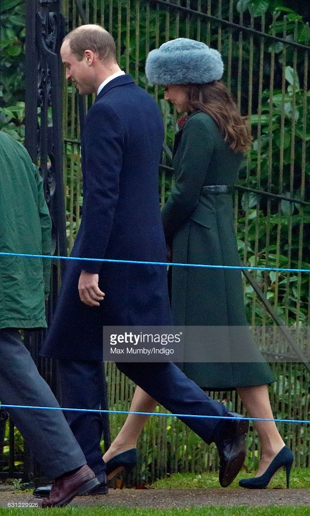 Prince William, Duke of Cambridge and Catherine, Duchess of Cambridge attend the Sunday service at St Mary Magdalene Church, Sandringham on January 8, 2017 in King's Lynn, England.