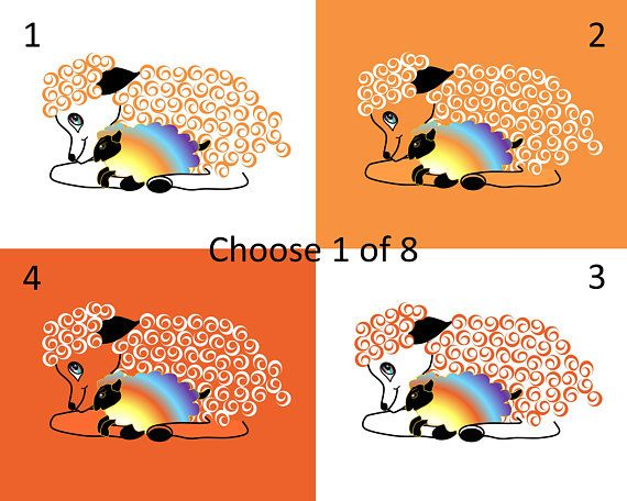 Nursery & Childs Room Wall Art depicting parent sheep cuddling child lamb. All lambykins need mommykins and daddykins by their side for reassurance and nurturance. Their true colors are shining through.  Choose your print size in the drop down box above.  Choose which one of 8 choices you wish for your print and indicate this in Notes to Seller at checkout. Choose caregiver sheep WITH or WITHOUT lamb, and indicate this in Notes to Seller at checkout. Notice how all colors are quite vibran...