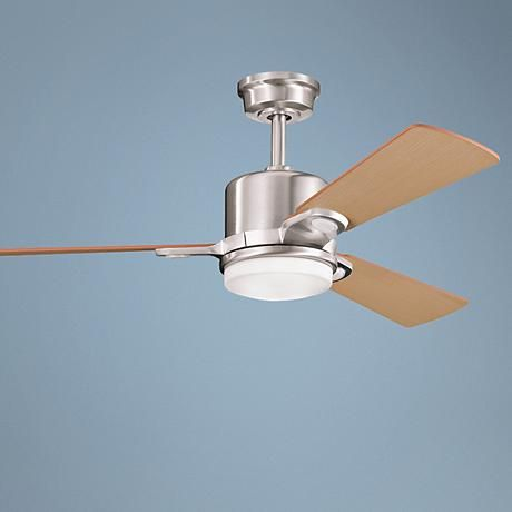 """48"""" Kichler Celino Brushed Stainless Steel Ceiling Fan- I love the combination of wood and metal. So sleek!"""