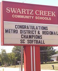 League, District & Regional Champions - 2012 Swartz Creek Varsity Softball
