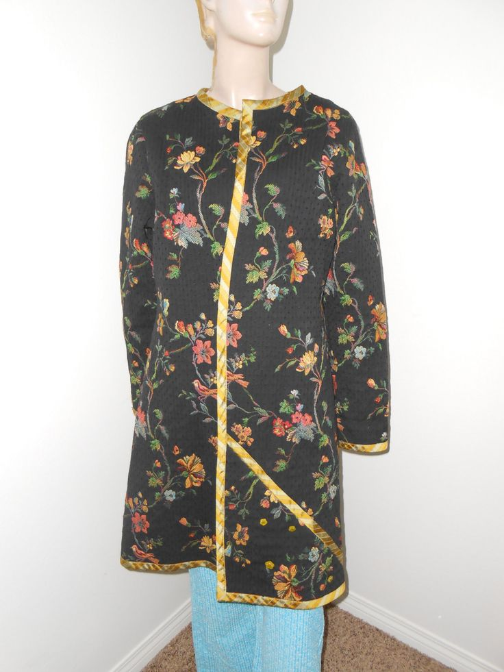 Oriental Look Coat/Jacket, Black/Floral Tapestry Coat - Size L - pinned by pin4etsy.com
