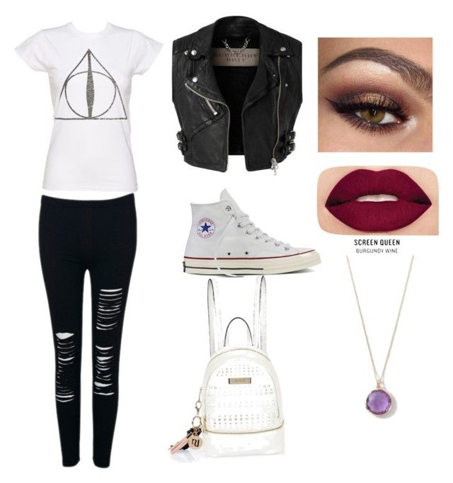 """School"" by aninha-brigagao on Polyvore featuring Converse, Burberry, Smashbox, Ippolita and River Island"